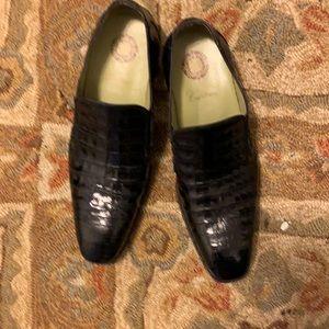 Men's genuine alligator  black shoes size 12